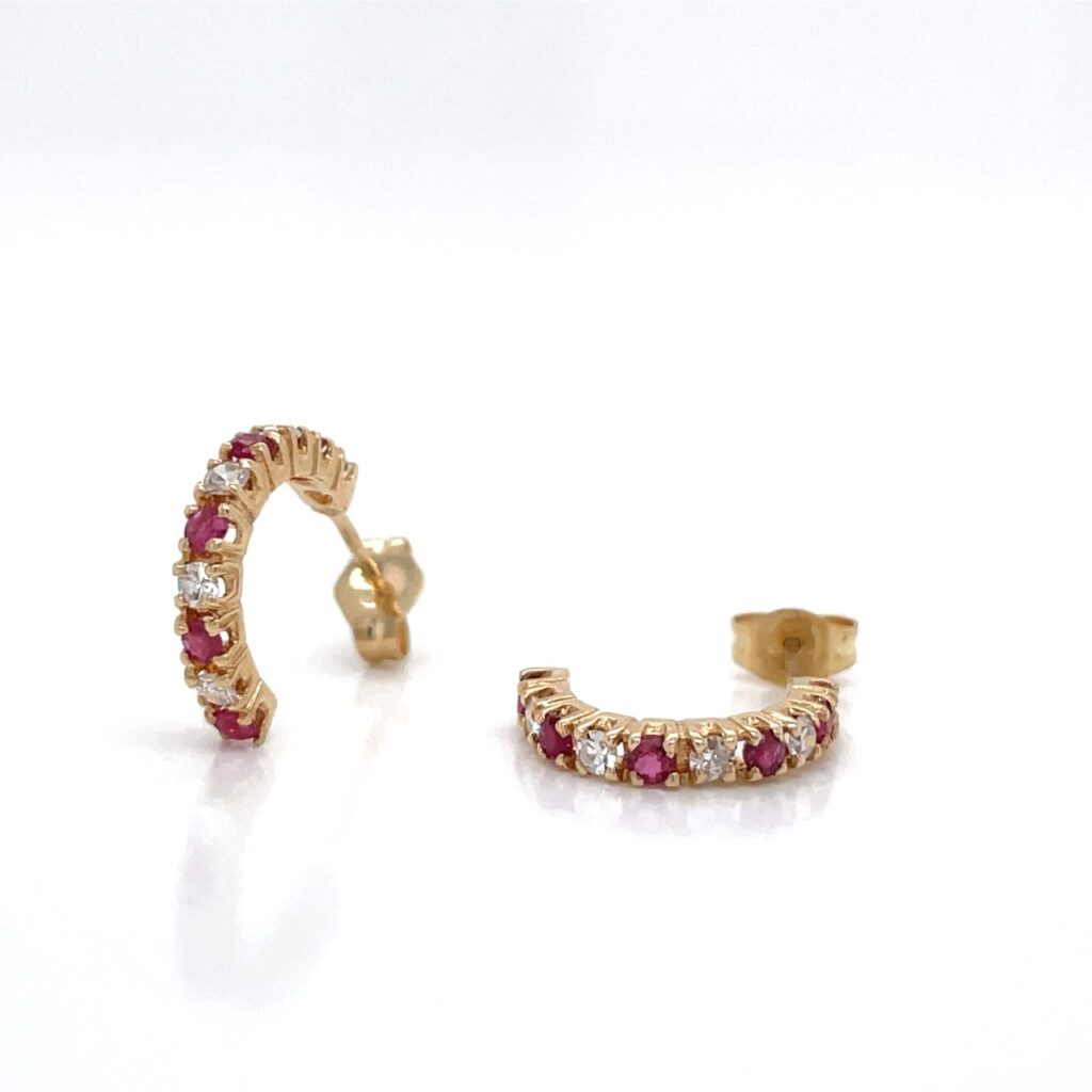 14K YELLOW GOLD RUBELITE TOURMALINE DIAMOND EARRINGS