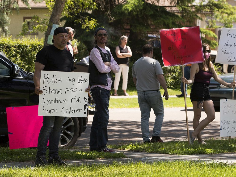 Approximately 100 people came out to protest at the mother's home of accused kidnapper and child sexual predator Wade Stene on Saturday, June 20, 2020  in Edmonton.   Greg Southam/Postmedia