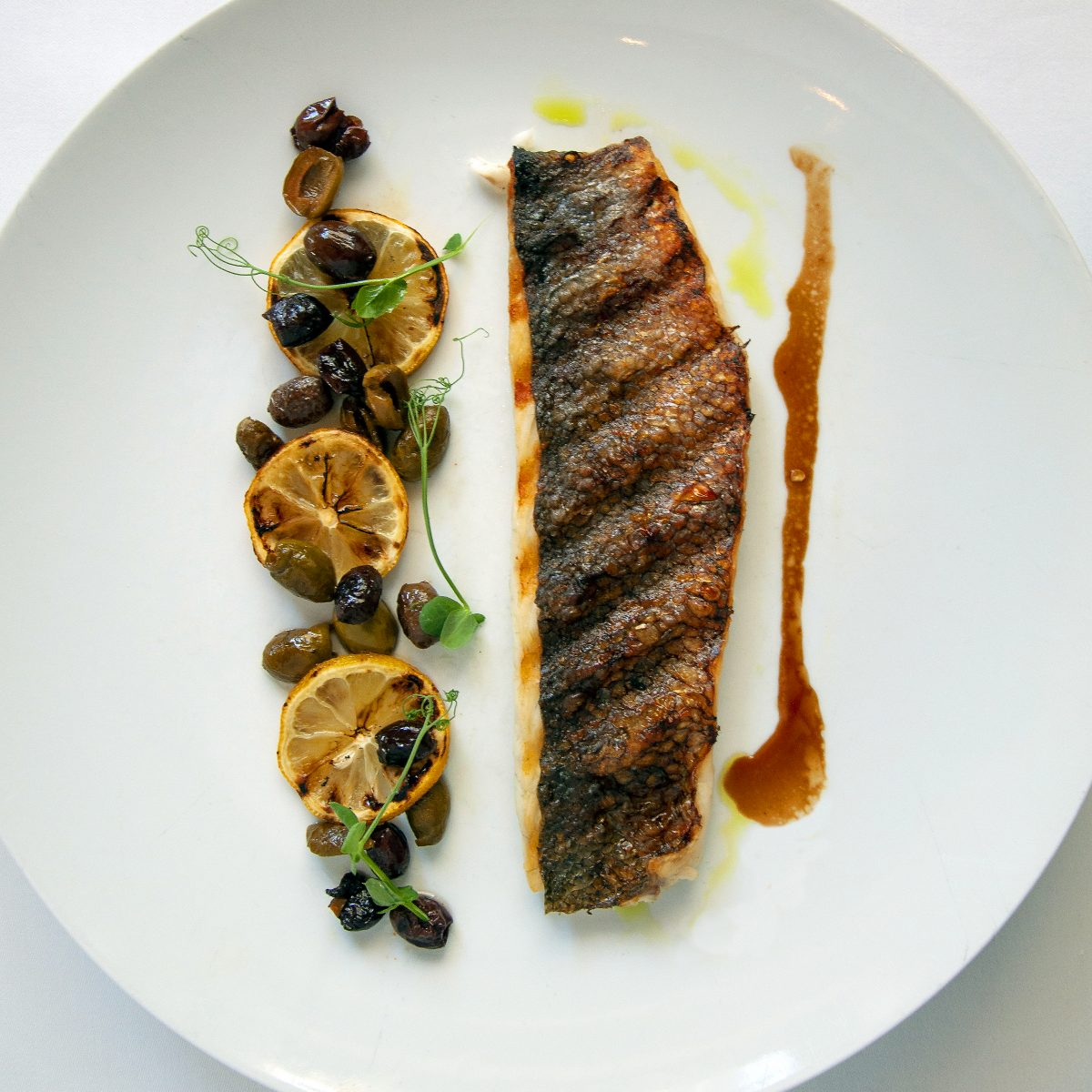 Grilled bronzino filet on a white plate with a line of grilled lemon slices and olives