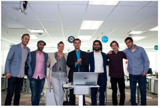 Desjardins' Payments Mandate Winning Team with Desjardins Executives at FornFitech's Formathon 2017