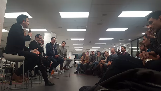 Stakeholders discuss the future of blockchain during a RDV FinFusion event at District 3 (December 8th): From Left to Right: Jonathan Hamel, Jillian Friedman, Francis Pouliot, John Shannon, Jeremy Clark, Gabriel Ngo