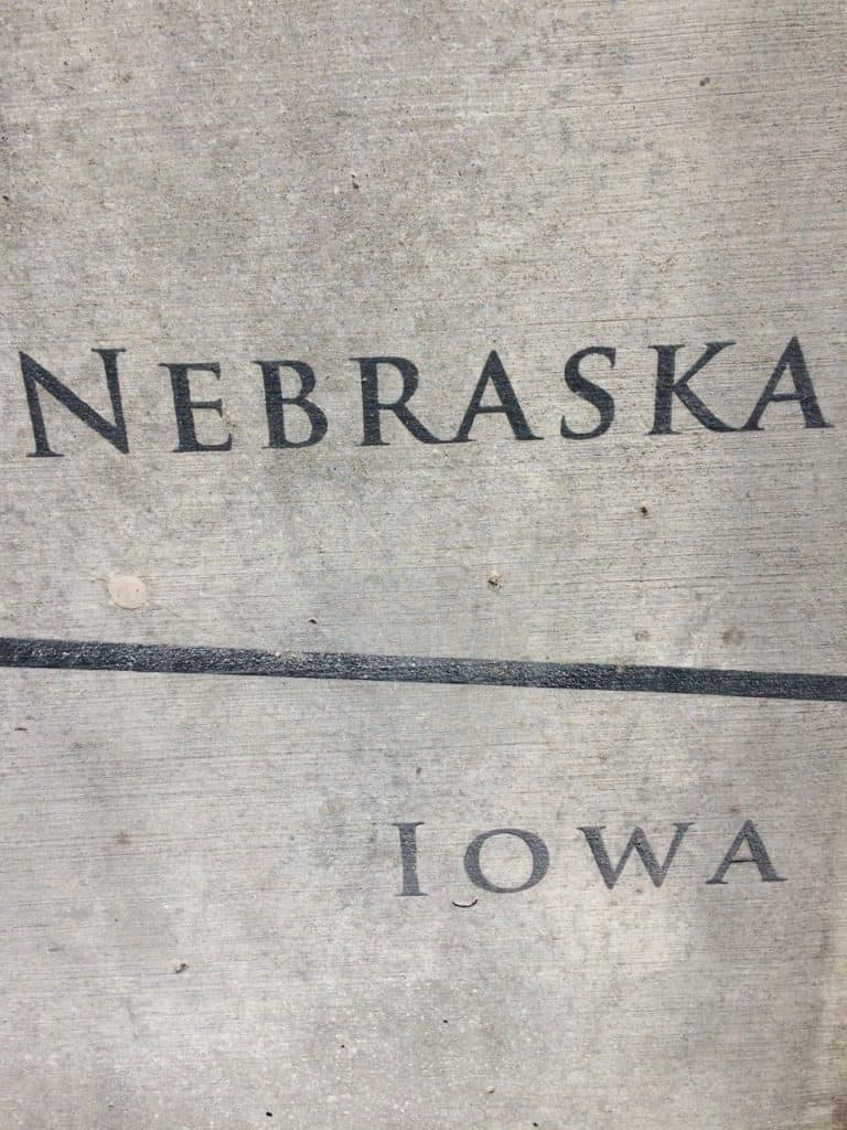Nebraska and Iowa Border