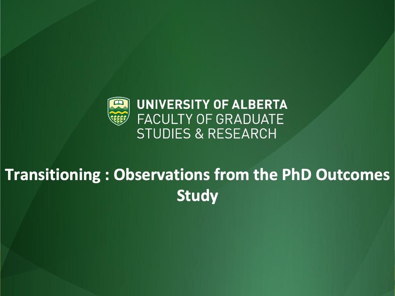 PhD Alumni Study and Identity