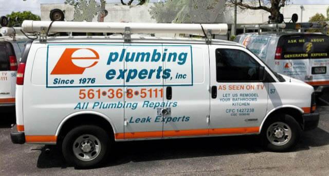 Plumbers work truck Delray Beach in Palm Beach County