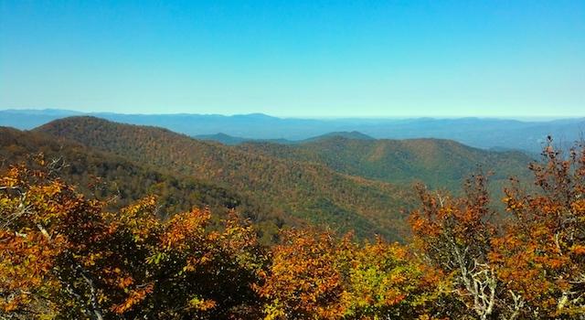 Beautiful Fall Foliage Seen from Mount Mitchell