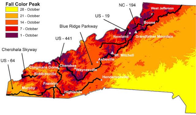 Fall Foliage Map 2015 WNC