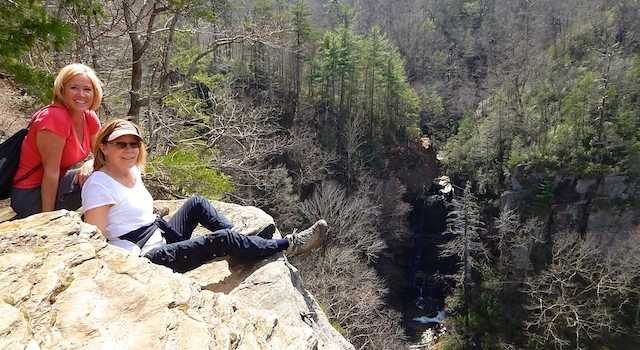 Rock Ledge with Big Bradley Falls in Background