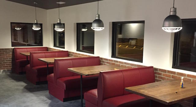 Booth seating at Pi-Squared Pizza
