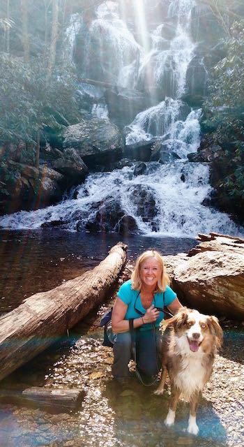 Lisa and Gunner at Catawba Falls NC