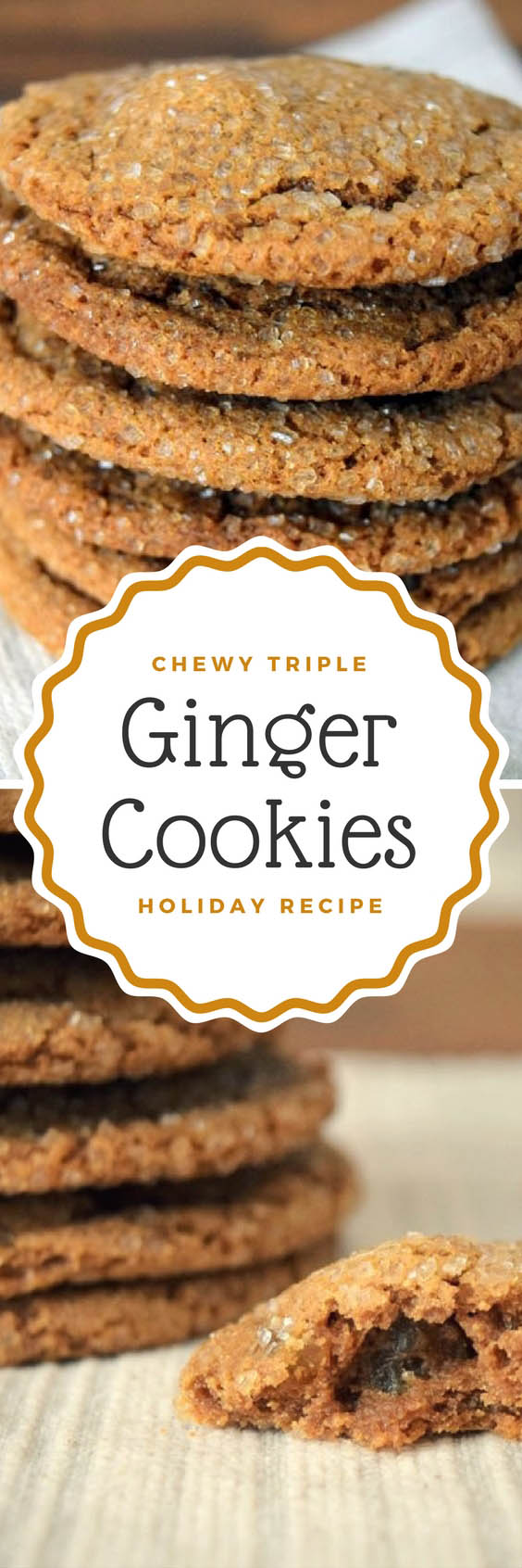 Chewy Triple Ginger Cookies - Pin 1