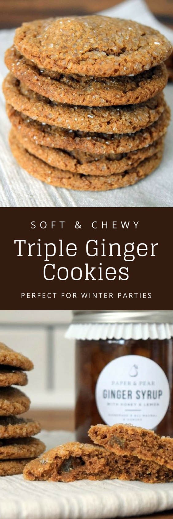 Chewy Triple Ginger Cookies - Pin 3