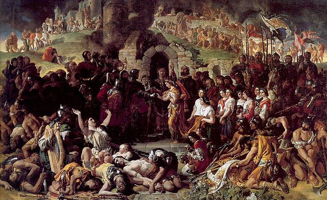 The Marriage of Strongbow and Aoife oil-on-canvas painting by Daniel Maclise, painted in 1854