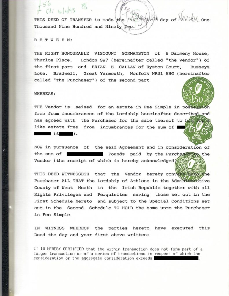 Conveyance document from Gormanston to Callan