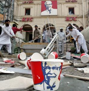 A KFC restaurant being destroyed by people