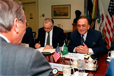 Mian Khurshid Mahmud Kasuri with Donald Rumsfeld