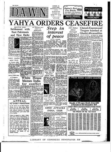 18 December 1971 Dawn headline