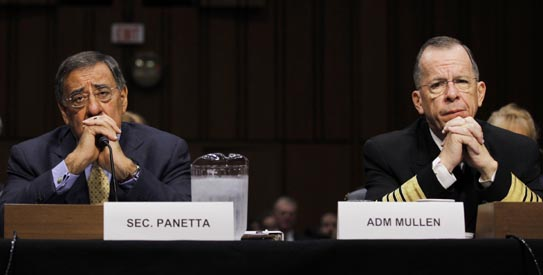 U.S. Defense Secretary Panetta and Chairman of the Joint Chiefs of Staff Admiral Mullen attend a hearing in Washington