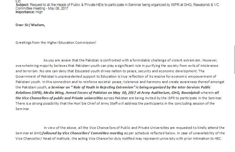 Email to University Vice Chancellors from GHQ