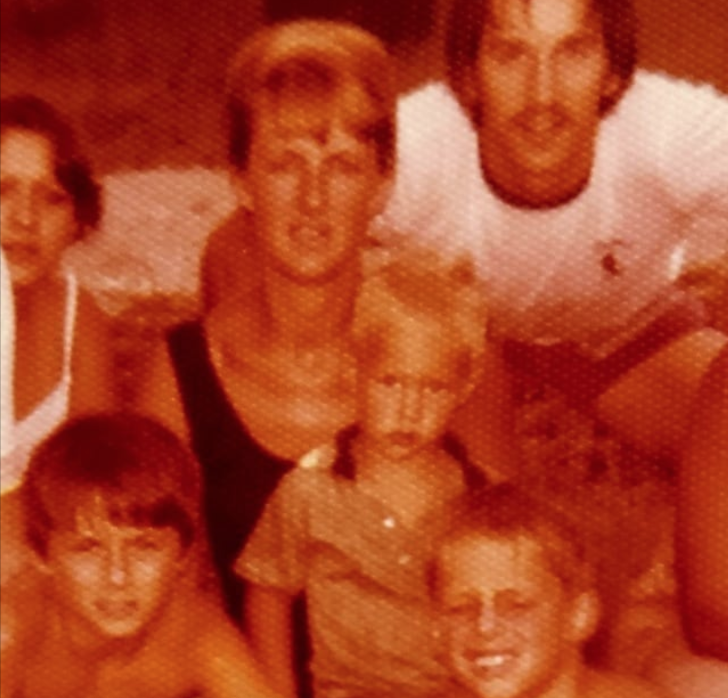 Guessing about 1977.   My mom, her cousin Ray, my brothers Tom,  Bryan & me.