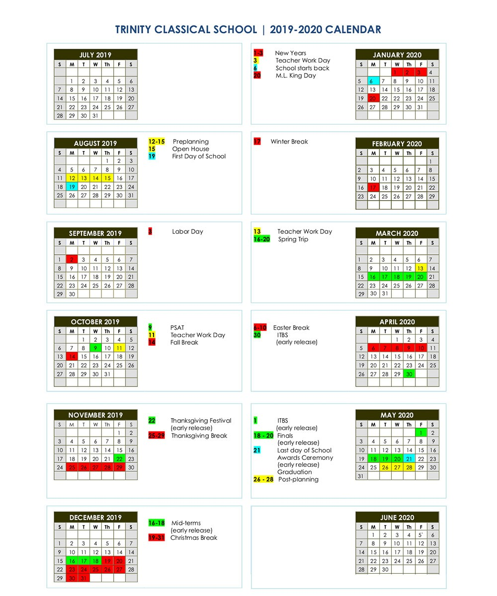 2019-2020 Calendar   Trinity Classical School