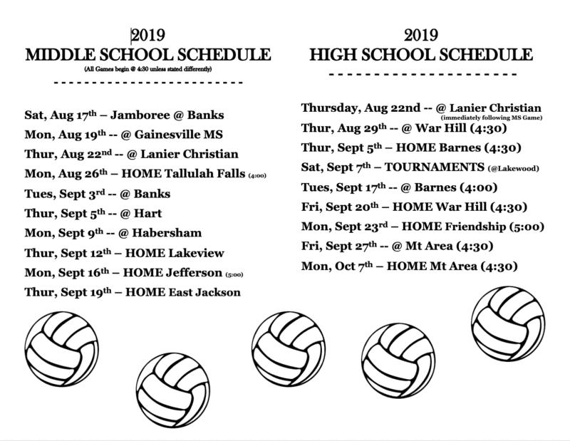 2019-2020 Volleyball Schedule