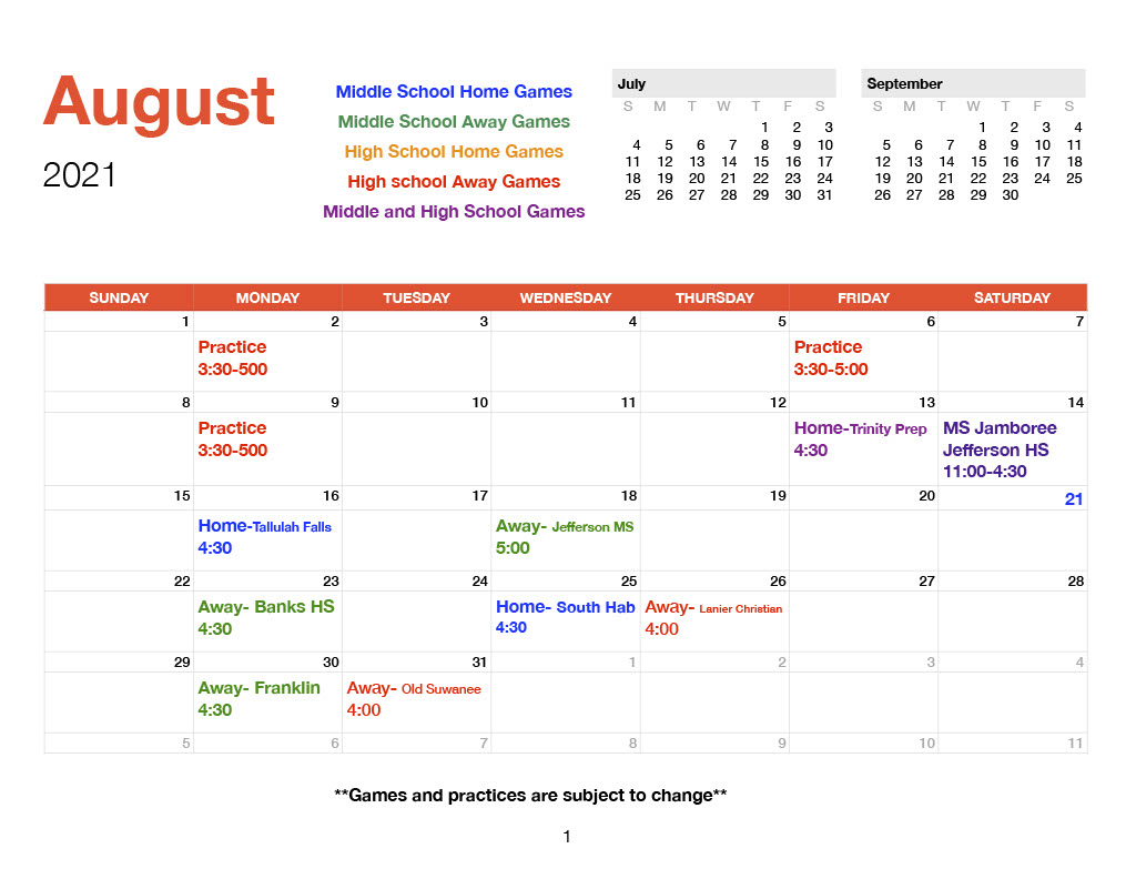 August 2021 TCS Volleyball Schedule