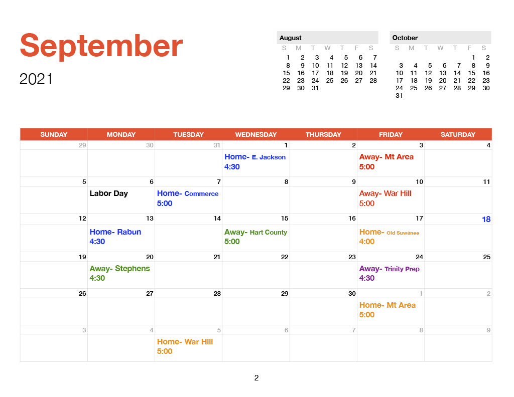 September 2021 TCS Volleyball Schedule