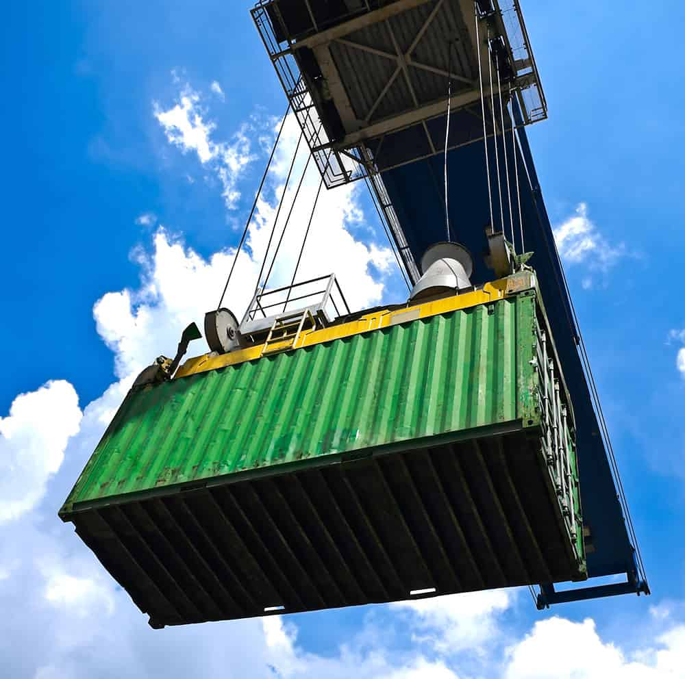 storage container hoisted