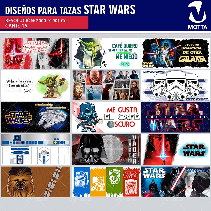 PLANTILLAS PARA SUBLIMAR TAZAS STAR WARS