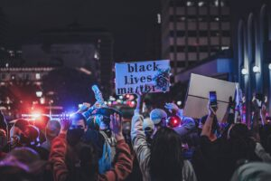 Protestors at night
