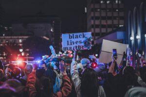 Protestors at night