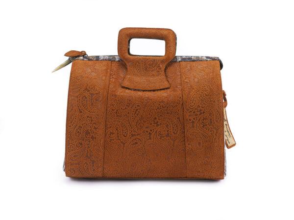 15 inch golden brown rebirth Ganesh  prints hand bag