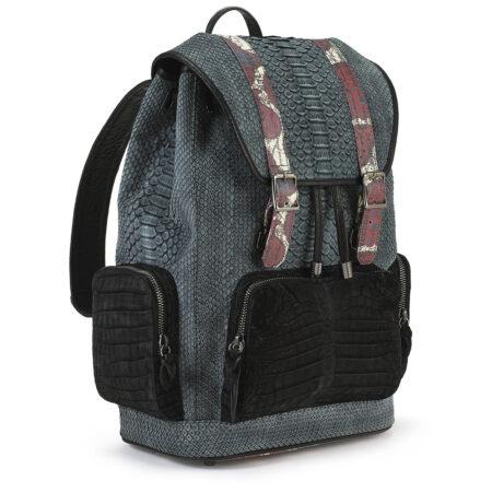 Serenity Gray Python with Black Croco Pockets