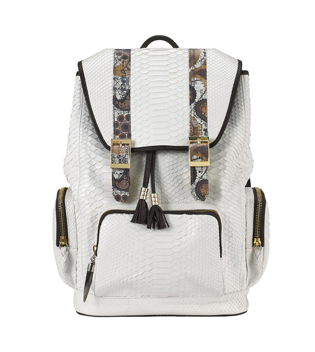 BACKPACK fingerprint-white-python-backpack