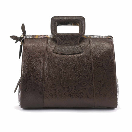 Ganesh Brown Embossed Paisley Leather