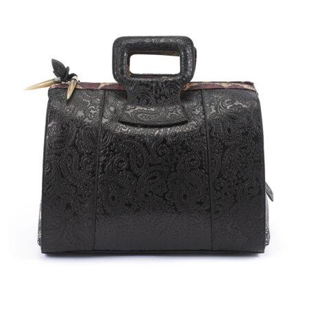 Serenity Black Embossed Paisley Leather