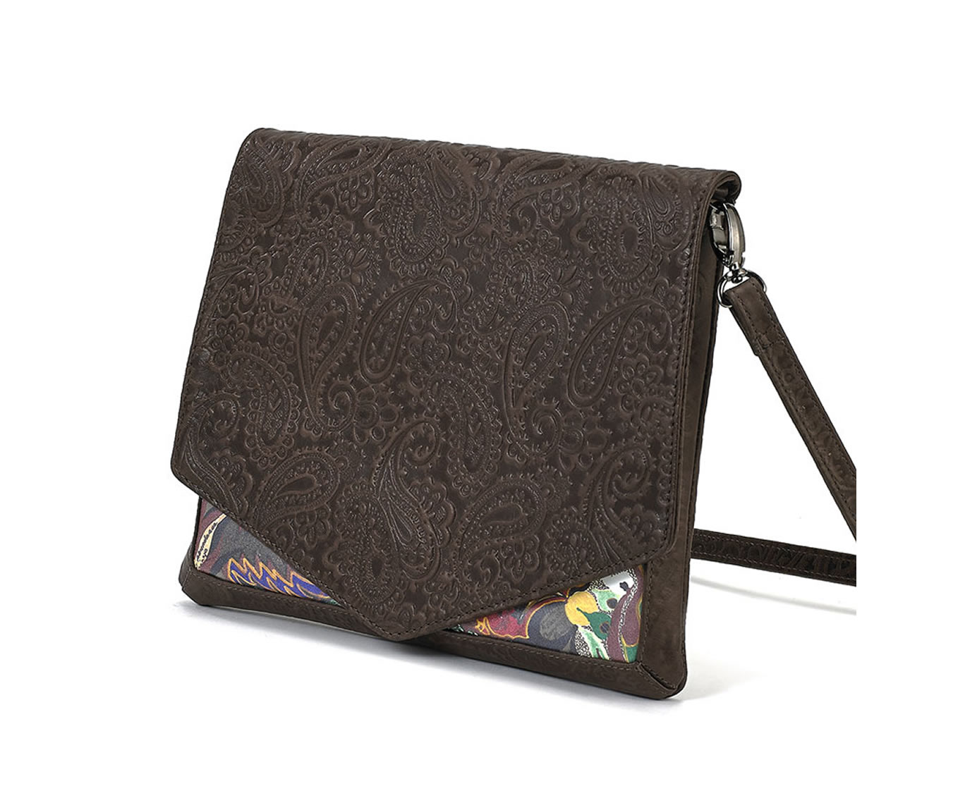 CROSSBODY BROWN EMBOSSED SEEKER 1
