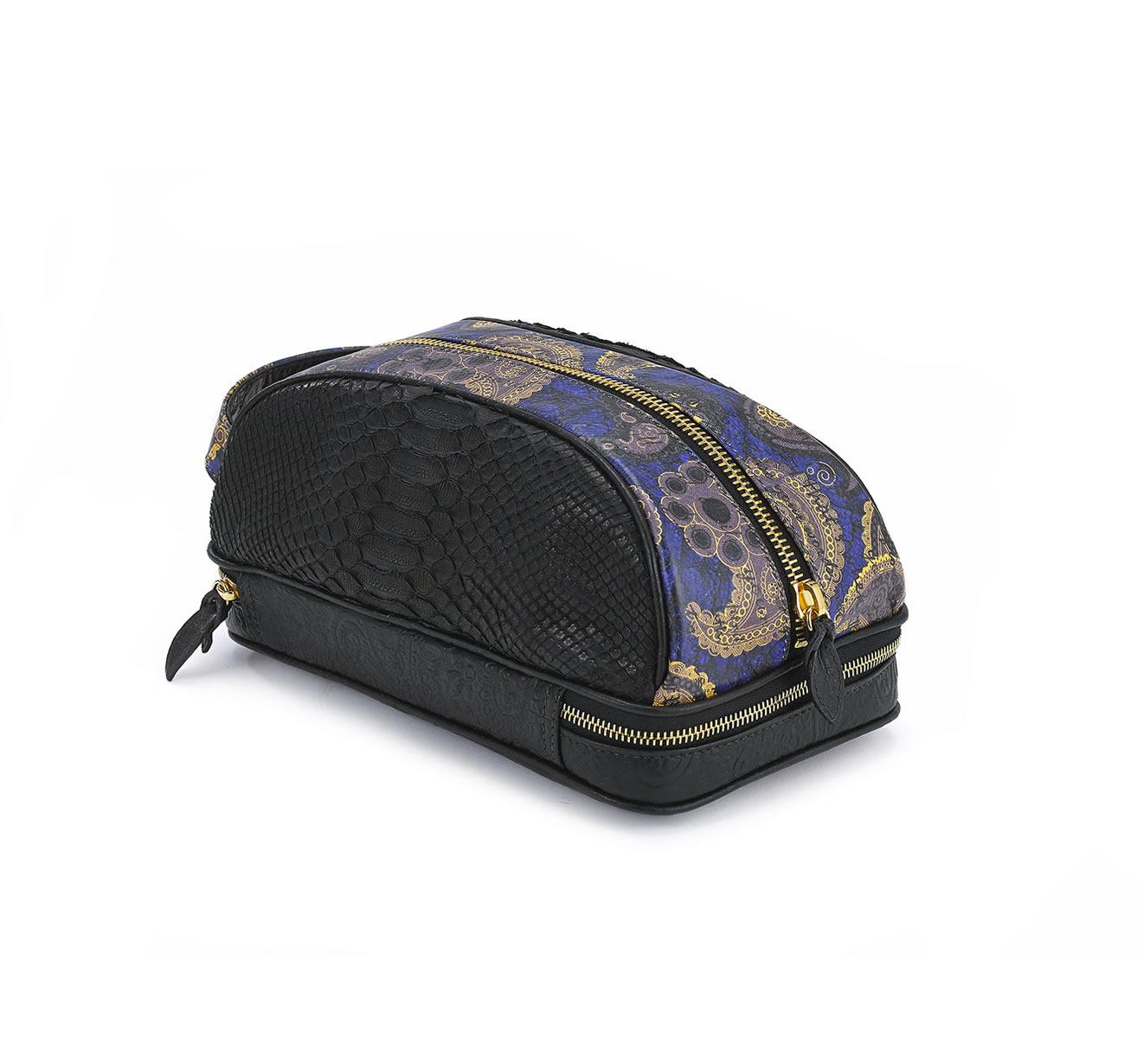 DOPP KIT BLK PYTHON BLUE GOLD PAISLEY bag