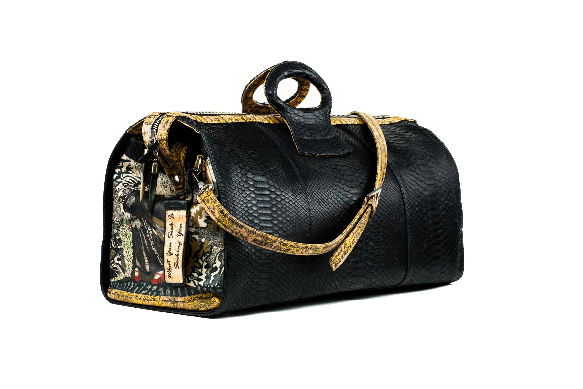 duffel-lady-t-python duffel-ganesh-python hand bag black