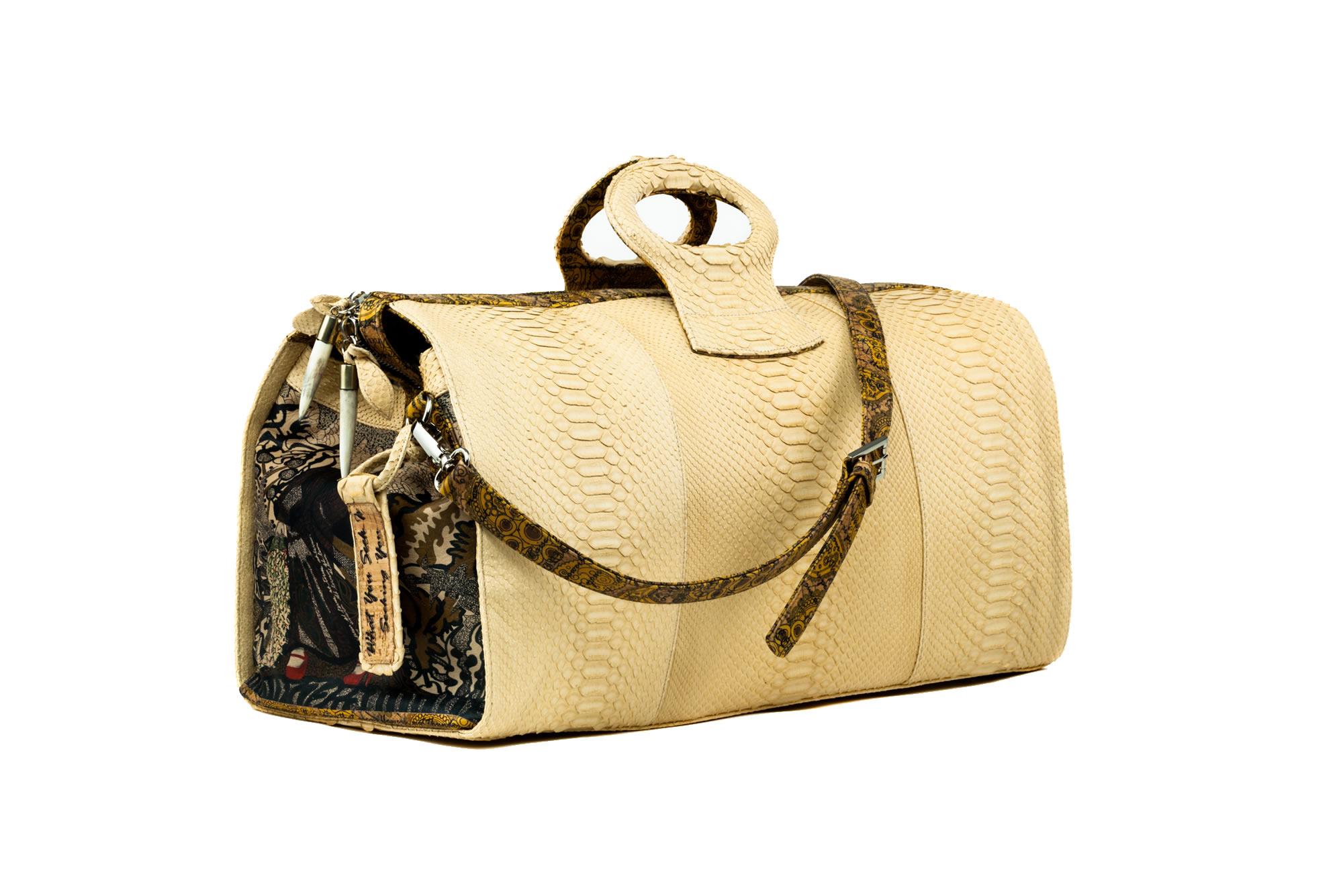 duffel-lady-duffel-ganesh-python hand bag