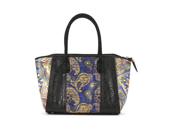 satchel-blk-embossed-lotus-1