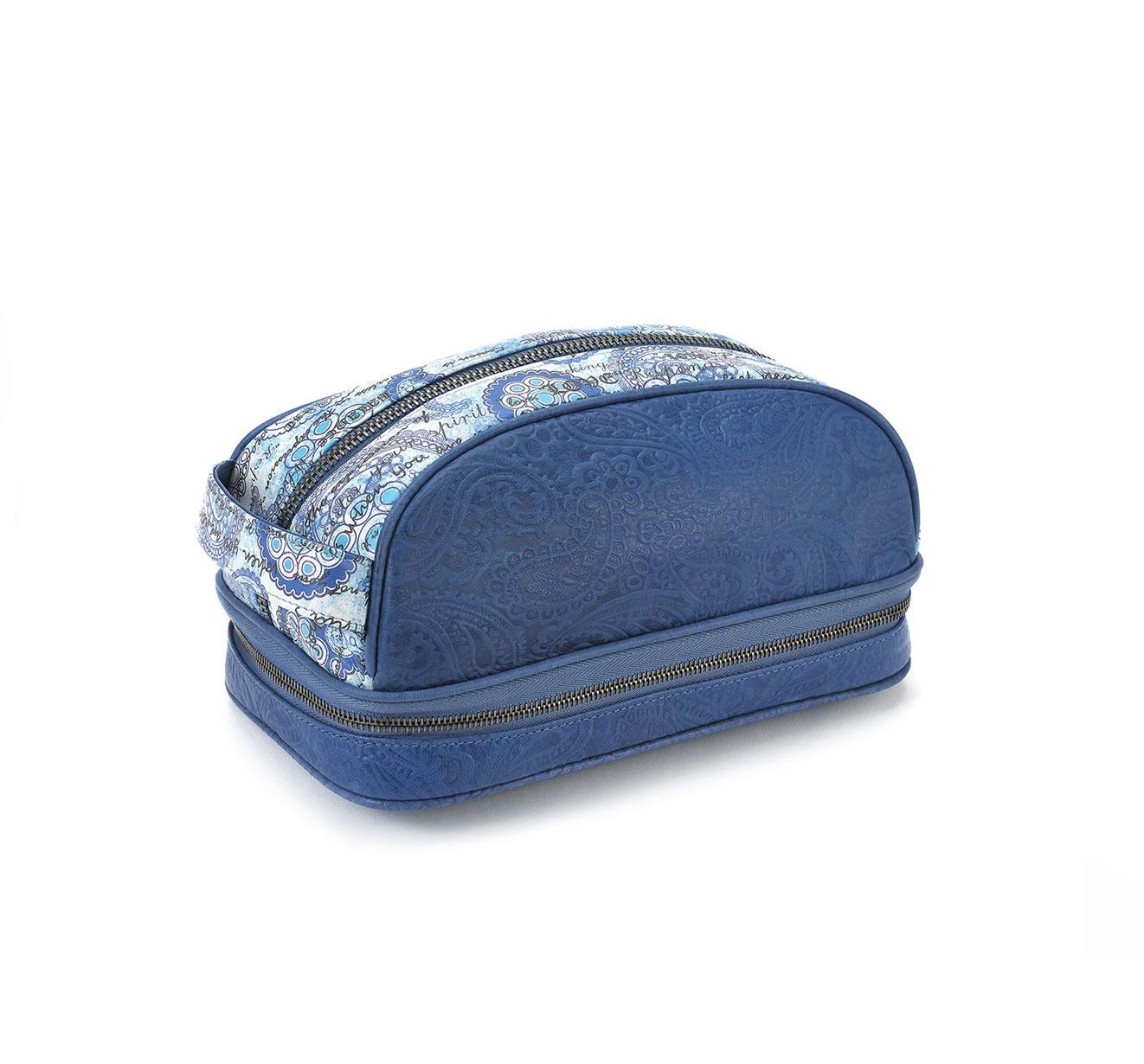 dopp kit blue embossed blue white paisley