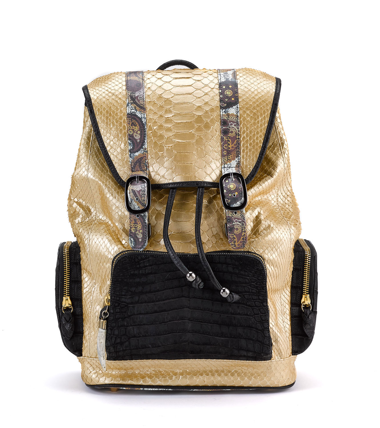 Fingerprint of the Soul Gold Python Backpack with Croco Pockets