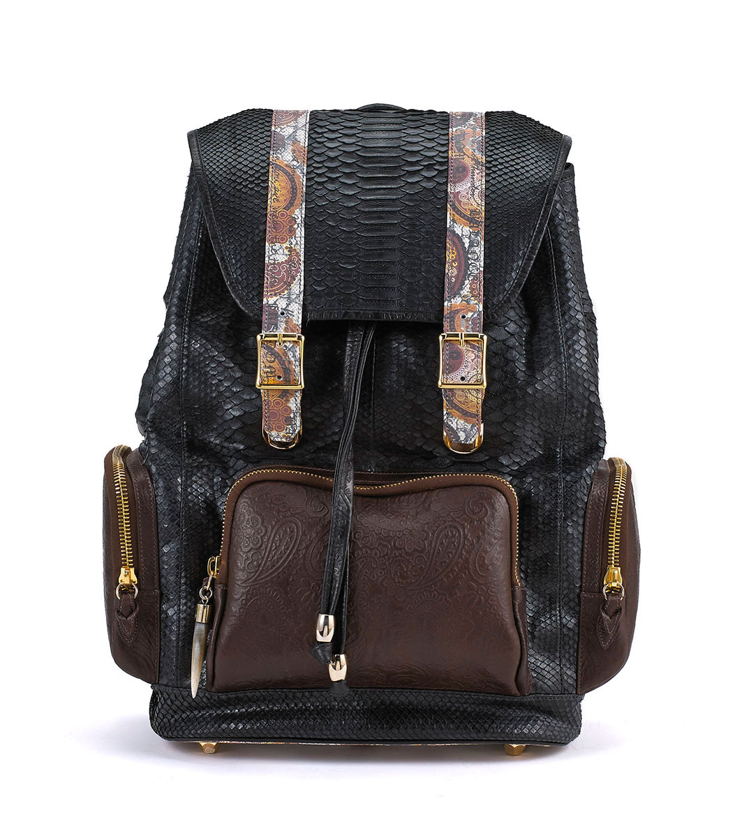 Ganesh Black Python with Brown Leather Pockets Backpack