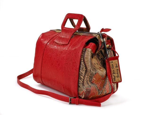 LADY B EMBOSSED DUFFEL BAG RED