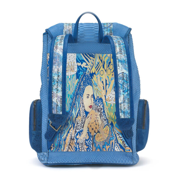 Miracles Blue Python Backpack with Leather Pockets