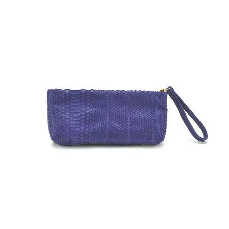 Mini Python Clutch Purple Paisley