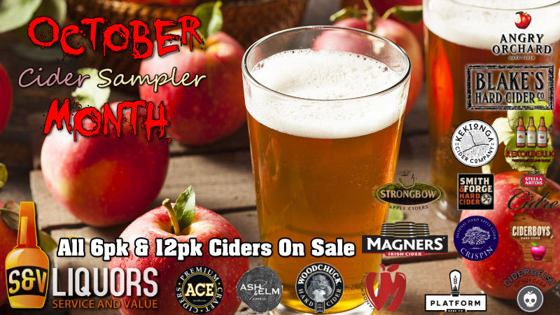 Fort Wayne's Featured Brewery of the Month - October 2020 features All Hard Ciders! On Sale at all S&V Liquors stores across Fort Wayne, New Haven, Churubusco, Garrett, and Woodburn!