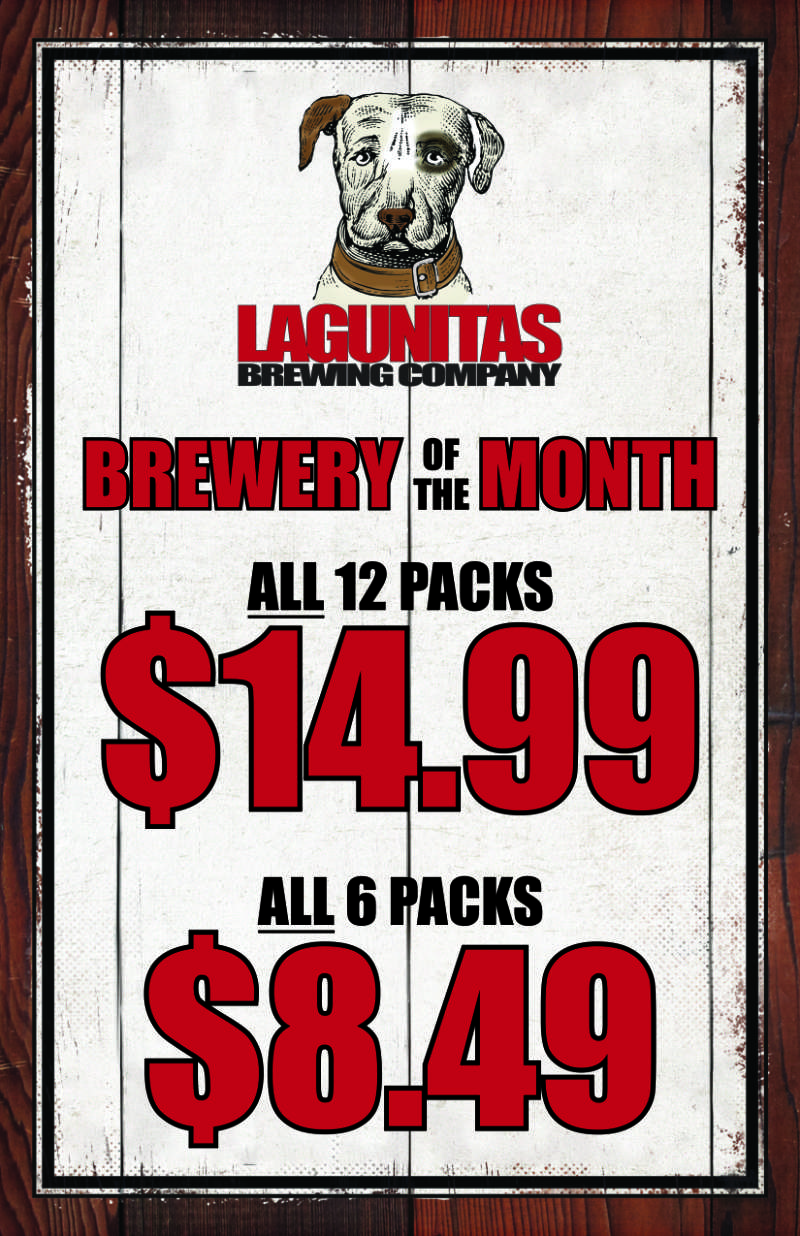 Fort Wayne's Featured Brewery of the Month - December 2020 features Lagunitas Brewing Co! On Sale at all S&V Liquors stores across Fort Wayne, New Haven, Churubusco, Garrett, and Woodburn!