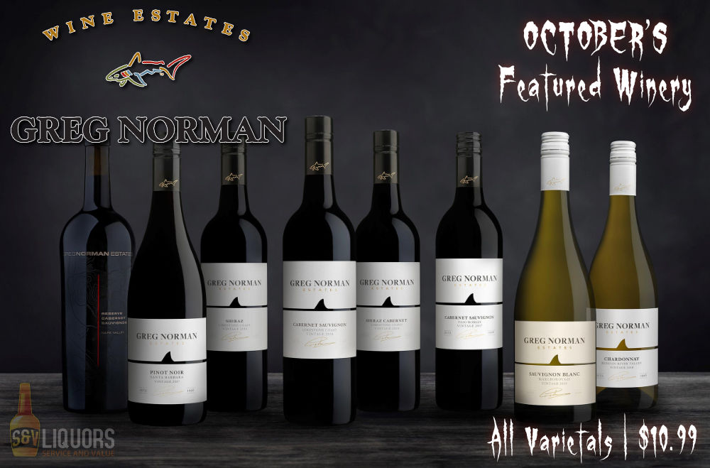Fort Wayne's Featured Wines of the Month at S&V Liquors! October 2021 Wine Features Greg Norman Estates at all S&V Liquors stores across Fort Wayne, New Haven, Churubusco, Garrett, and Woodburn!